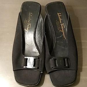 Salvatore Ferragamo Black Logo Canvas Sandals 8.5B